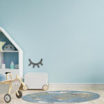 Mockup wall in the children's room on wall blue colors backgroun