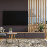 Modern interior room with furniture,TV room,Dining room,The kitc